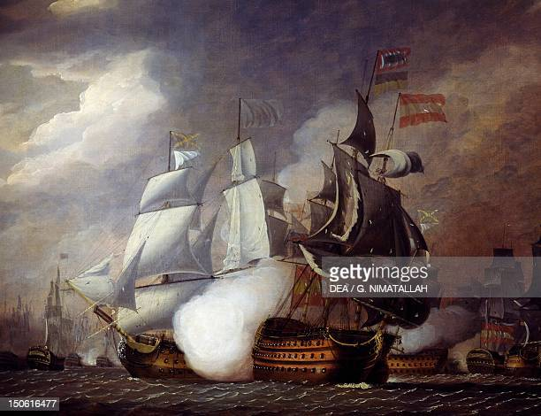 Naval Battle of Cape St Vincent between the English and Spanish February 14 by Robert Cleveley 1798 French Revolutionary Wars Portugal 18th century