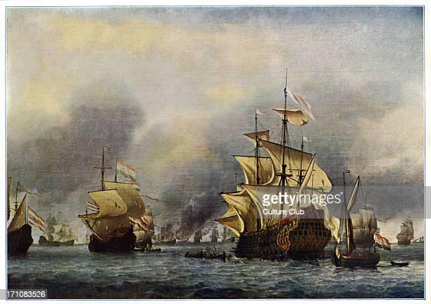 Naval battle of June 1666 Second AngloDutch war 4 March 1665 31 July 1667 After a painting by Willem van de Velde the Younger Dutch marine painter 18...