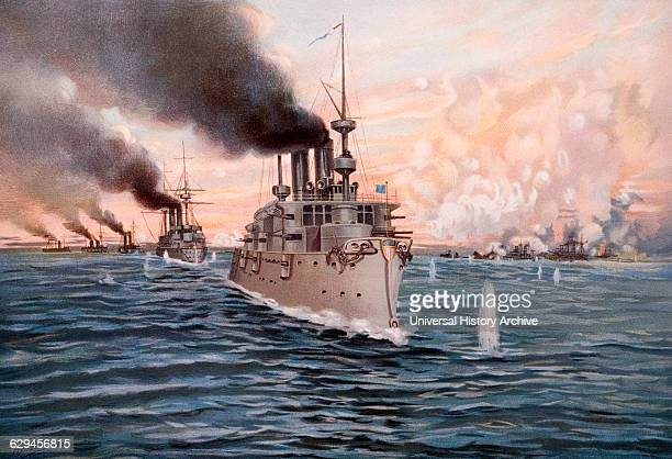 Naval Battle of Manila Bay Philippines Between United States and Spain First Major Engagement of SpanishAmerican War 1898