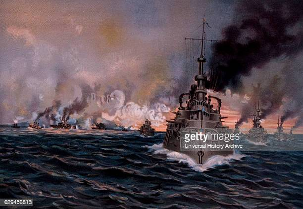 Naval Battle of Santiago Bay, Cuba, Between Spain and United States During Spanish-American War, 1898.