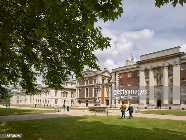 Naval College Gardens. Old Royal Naval College, London, United Kingdom. Architect: Sir Christopher Wren, Nicholas Hawksmoor, 2019.