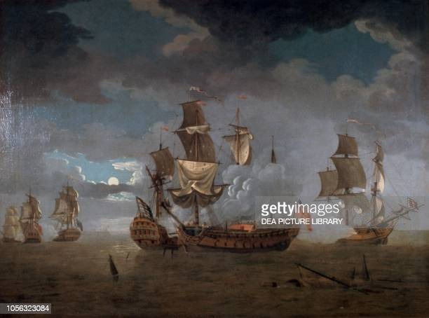 Naval collision between the HMS Serapis and the USS Bonhomme Richard American Revolutionary War painting United States of America 18th century