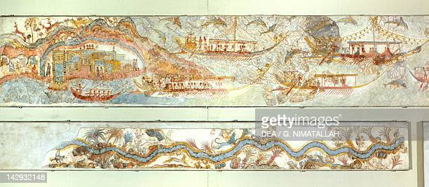 Naval expeditions and river landscape Akrotiri fresco Thera Minoan Civilization 16th Century BC Athens Ethnikó Arheologikó Moussío