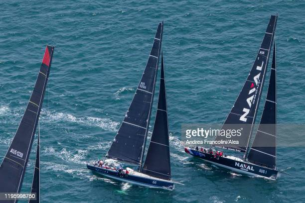 Naval Group and Alive take the start during the 2019 Sydney to Hobart race on Sydney Harbour on December 26 2019 in Sydney Australia