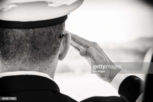 A Naval Officer Saluting