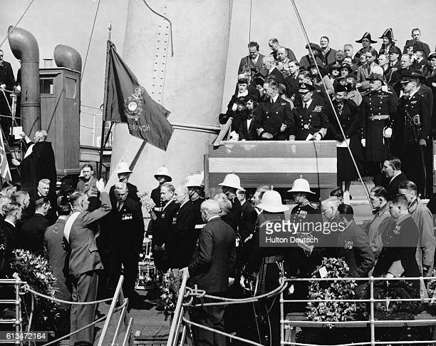 Naval officers and veterans attend a dedication ceremony on the bridge of the SSRoyal Daffodil which took part in the World War I Zeebrugge battle...