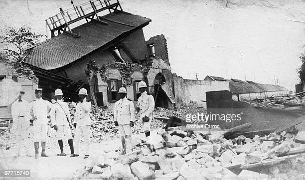 Naval officers on police duty following the Kingston earthquake of January 14 1907