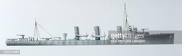 Naval ships British Royal Navy destroyer HMS Grasshopper 1909 Color illustration