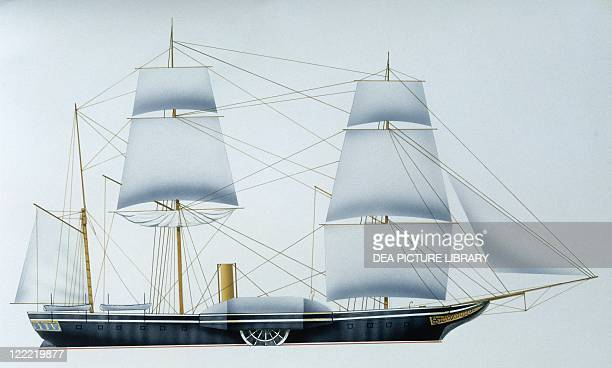 Naval ships - British Royal Navy frigate HMS Gladiator, 1844. Color illustration.