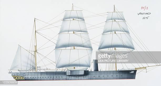 Naval ships - British Royal Navy ironclad HMS Vanguard, 1870. Color illustration.