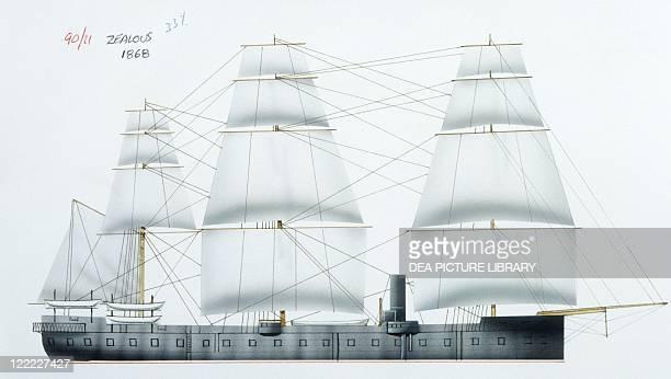 Naval ships - British Royal Navy ironclad HMS Zealous, 1864. Color illustration.