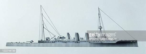Naval ships British Royal Navy light cruiser HMS Glasgow 1909 Color illustration