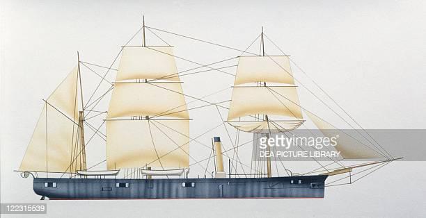 Naval ships - British Royal Navy screw sloop HMS Egeria, 1873. Color illustration.