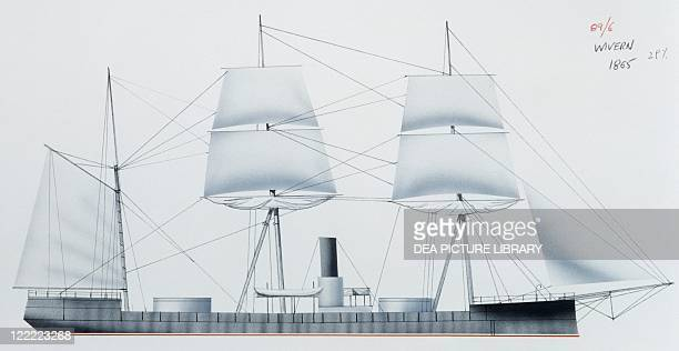 Naval ships - British Royal Navy turret ironclad HMS Wivern, 1863. Color illustration.