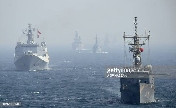 Naval ships from Turkey and China take part in the multinational naval exercises 'AMAN19' in the Arabian Sea near Pakistan's port city of Karachi on...