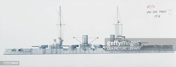 Naval ships German Imperial Navy battle cruiser Von der Tann 1909 Color illustration