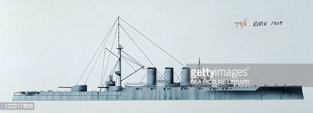 Naval ships Imperial Russian Navy armored cruiser Rurik 1892 Color illustration