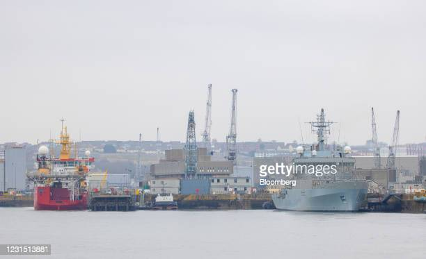 Naval ships moored at Plymouth port near the site of the Devonport freeport in Plymouth, U.K., on Thursday, March 4, 2021. U.K. Chancellor Rishi...