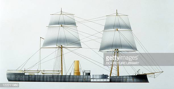 Naval ships Peruvian turret ironclad Huascar 1865 Color illustration