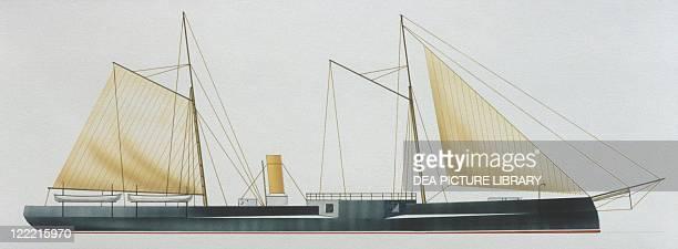 Naval ships Royal Hellenic Navy battleship Basileus Georgios 1867 Color illustration
