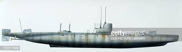 Naval ships - Swedish Royal Navy submarine HMS Hvalen, 1909. Color illustration.