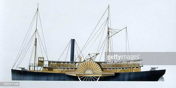 Naval ships United States Confederate Navy gunboat General Bragg 1851 Color illustration