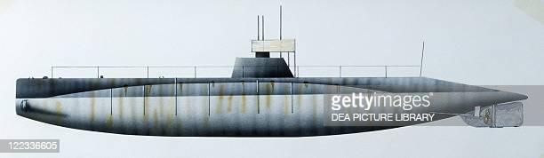 Naval ships United States Navy submarine USS Grayling 1909 Color illustration