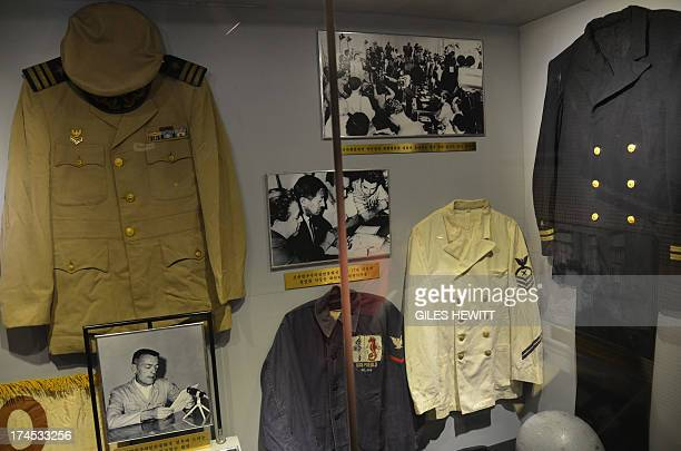 US naval uniforms are displayed aboard the USS Pueblo a US navy technical research ship captured by North Korean forces in 1968 in Pyongyang on July...