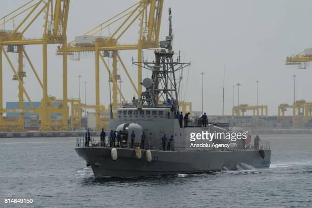 A naval vessel is seen during a joint naval exercise between United Kingdom's Royal Navy and Qatari Emiri Naval Forces in Doha Qatar on July 14 2017