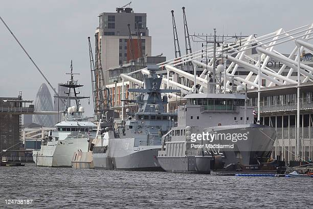 Naval vessels are moored alongside the ExCeL exhibition centre on September 12, 2011 in London, England. ExCeL London is hosting the Defence and...