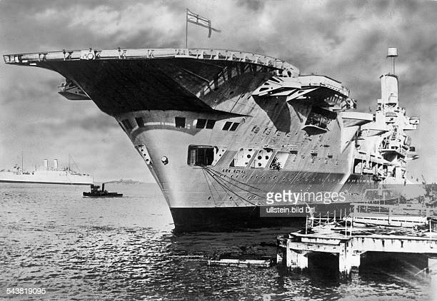2WW Naval warfare british aircraft carrier 'HMS Ark Royal' on the quay 1941