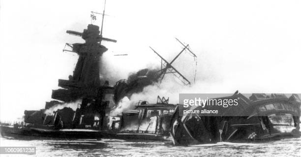 Naval warship Graf Spee destroyed by its crew in the mouth of River La Plata The ship was seriously damaged in a sea battle with British troops and...