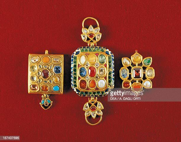 Navaratna pendants with nine stones set in gold symbolising the planets of the solar system India 19th century