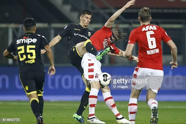 Navarone Foor of Vitesse Arnhem Matthew Miazga of Vitesse Arnhem Wout Weghorst of AZ Alkmaar Ben Rienstra of AZ Alkmaarduring the Dutch Eredivisie...