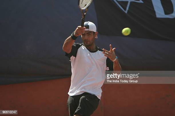 Navdeep Singh in action during the ITF men's tournament at RK Khanna Stadium New Delhi