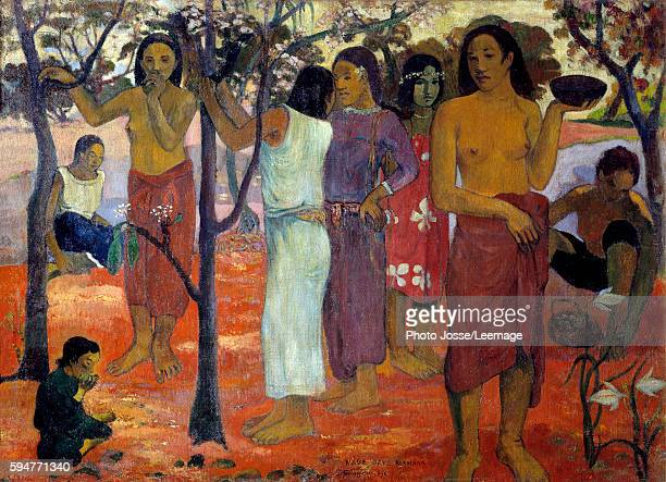 """Nave Nave Mahana also known as """"Delicious Day"""". A group of Tahitian women in a garden. Painting by Paul Gauguin , 1896. 0,94 x 1,3 m. Beaux-Arts..."""