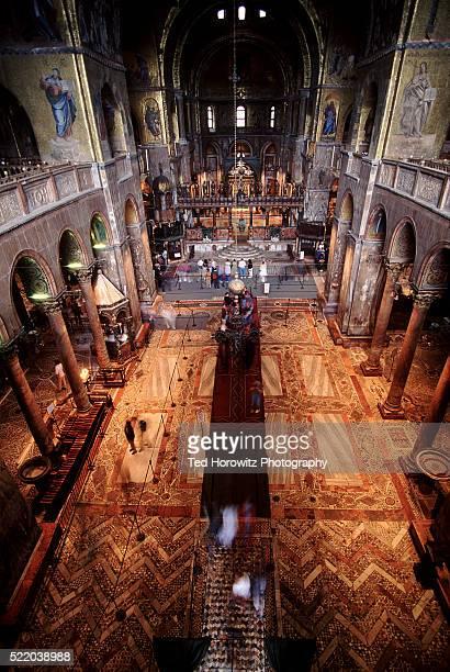 nave of basilica san marco seen from above, venice - basilica di san marco foto e immagini stock