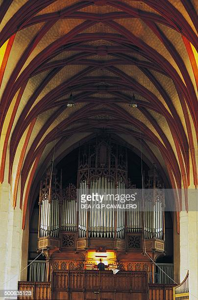 Nave of the church of St Thomas 15th century with the organ onceplayed by Johann Sebastian Bach Leipzig Germany