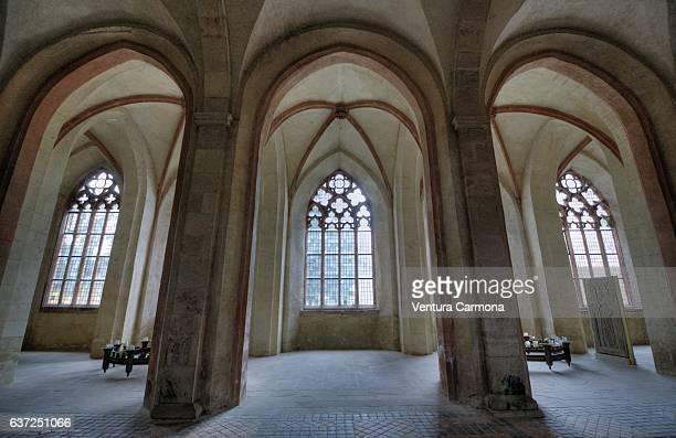 nave of the kloster eberbach (eberbach abbey) - eltville am rhein - cisterciense - fotografias e filmes do acervo