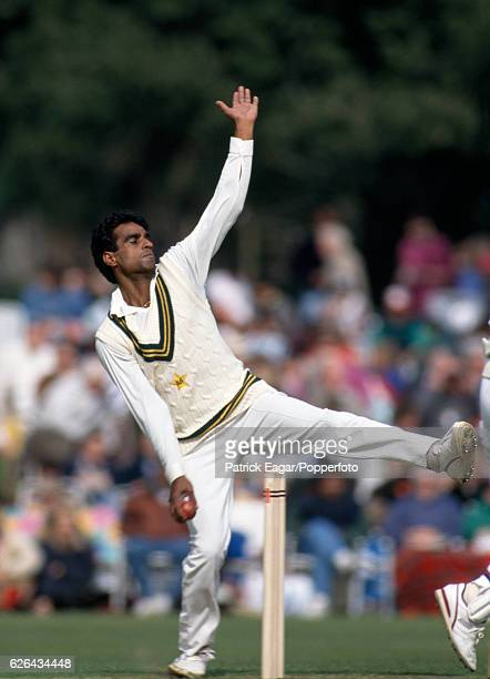 Naved Anjum bowling for Pakistan during the tour match between Lavinia Duchess of Norfolk's XI and the Pakistanis at Arundel 3rd May 1992