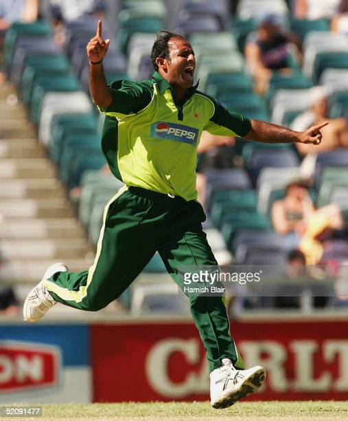 Naved-ul-Hasan of Pakistan celebrates taking the wicket of Riccardo Powell of the West Indies during game nine of the VB Series One Day International...