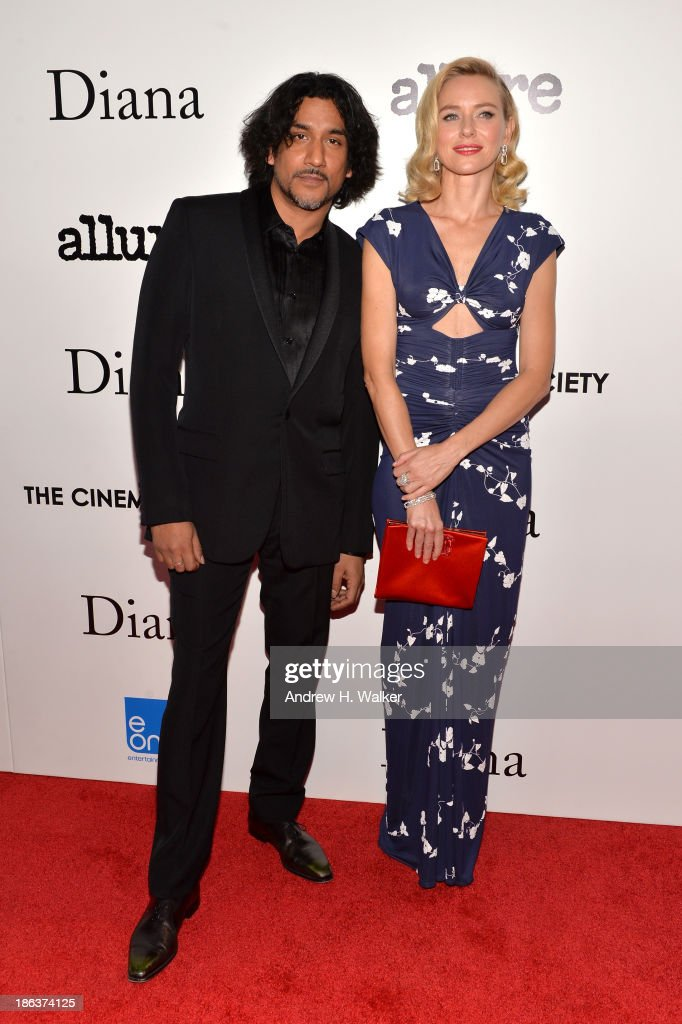 Naveen Andrews (L) and Naomi Watts attend the screening of Entertainment One's 'Diana' hosted by The Cinema Society With Linda Wells and Allure Magazine at SVA Theater on October 30, 2013 in New York City.