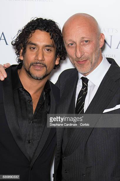 Naveen Andrews and Oliver Herschbiegel attend the premiere of 'Diana' at Cinema UGC Normandie in Paris