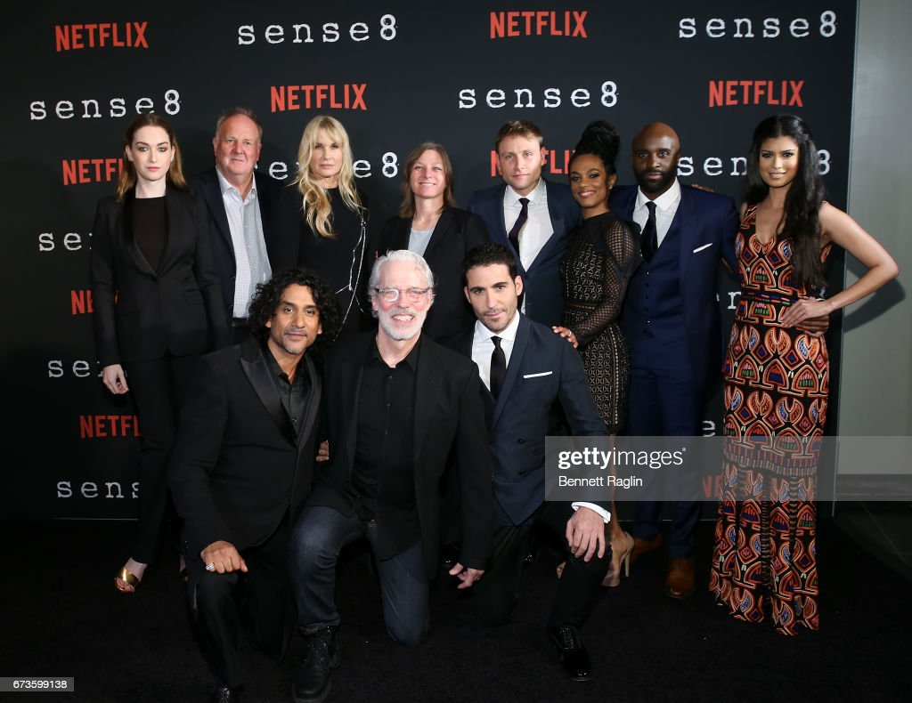 Naveen Andrews, Terrence Mann, Miguel Angel Silvestre (backrow) Jamie Clayton, Grant Hill, Daryl Hannah, Max Riemelt, Freema Agyeman, Toby Onwumere, Tina Desai pose for a picture during 'Sense8' New York premiere at AMC Lincoln Square Theater on April 26, 2017 in New York City.