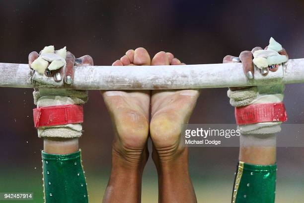 Naveen Daries of South Africa competes on the Parallel Bars during the Gymnastics Artistic Women's Team Final and Individual Qualificationon day two...