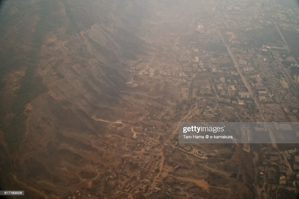 Navi Mumbai in Maharashtra in India aerial view from airplane : ストックフォト