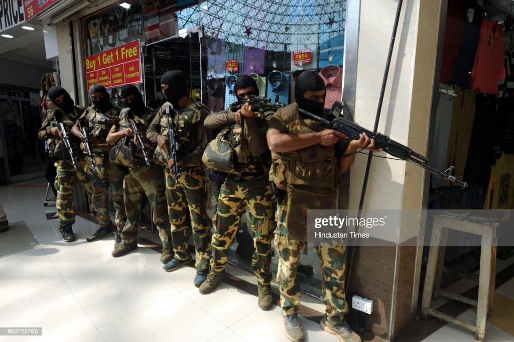 Navi Mumbai Police organised mock drill at Raghuleela Mall, Vashi in, on January 2, 2018 Navi Mumbai, India.