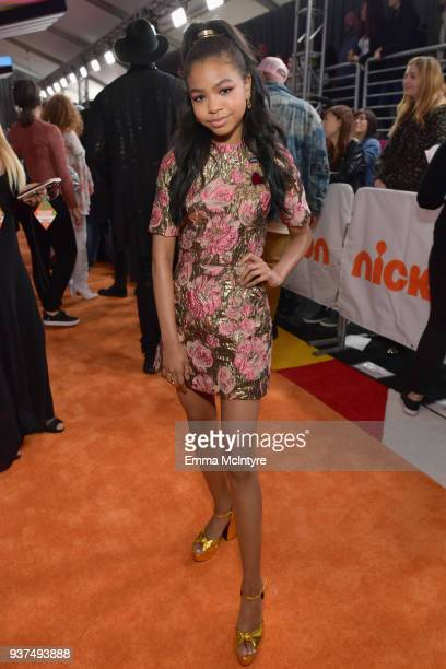 Navia Robinson attends Nickelodeon's 2018 Kids' Choice Awards at The Forum on March 24 2018 in Inglewood California