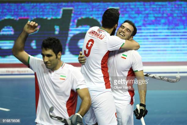 Navid Taherirad and Amir Orouei of Iran celebrate after the Men Bronze Medal Indoor Hockey World Cup match on February 11 2018 in Berlin Germany