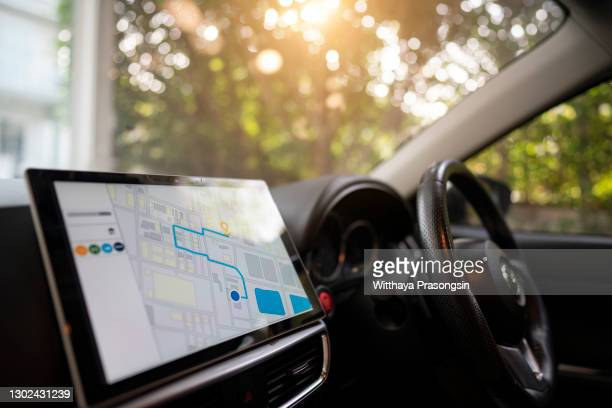 navigation device in the car - vehicle interior stock pictures, royalty-free photos & images